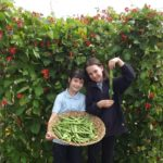 kids with scarlet runner beans
